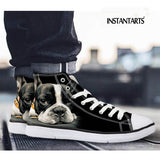 Black White French Bulldog Chuck Taylor Style Shoes
