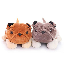 Puffy Bulldog Prone Plush Stuff Animal Pillow