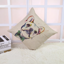 White French Bulldog Green Bow Tie Painting Pillowcase