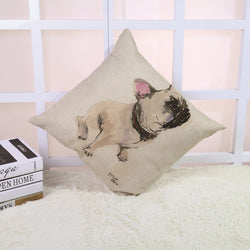 White French Bulldog Looking Up Sitting Water Painting Pillowcase