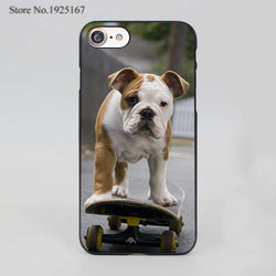 English Bulldog Rolling On A Skateboard Phone Case for iPhone