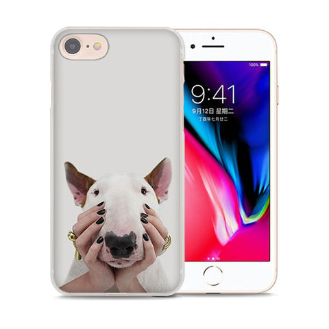 Bull Terrier Cute Hand Pose Phone Case for iPhone