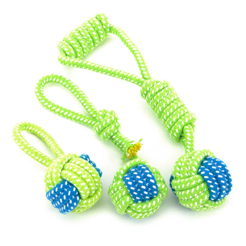 Fun Playing Green Rope Ball Toy For Dogs