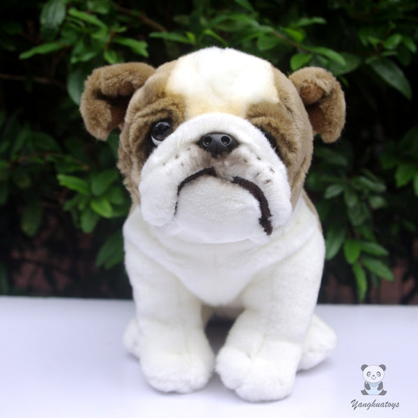 English Bulldog Brown White Cute Plush Stuff Animal Doll