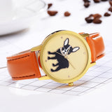 French Bulldog Head Tilt Gold Background Leather Quartz Watch