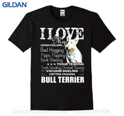 I Love My Bed Hogging Bull Terrier T-Shirt