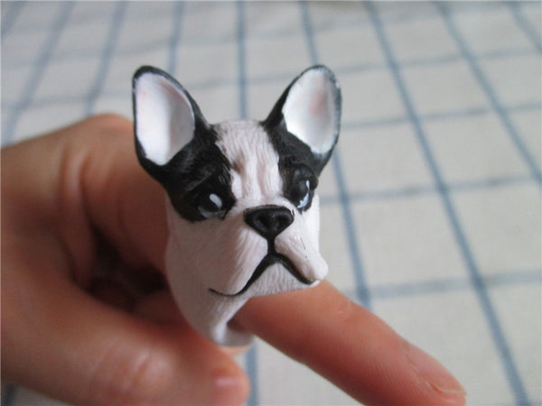 Cute French Bulldog Black and White Ring