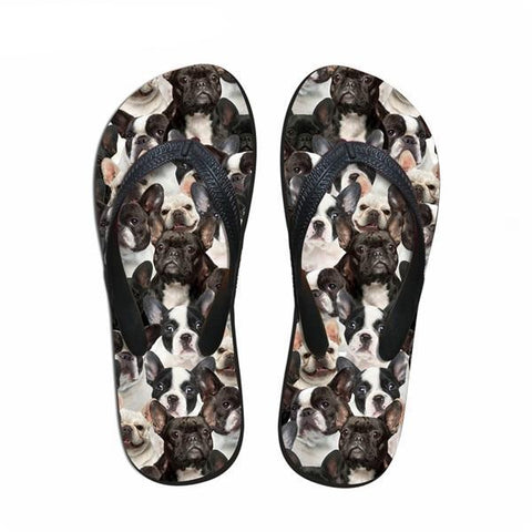 French Bulldog Collage Pattern Flip Flop Sandals