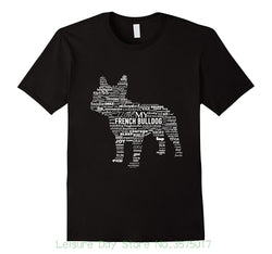 My French Bulldog Word Pattern French Bulldog Shape T-Shirt