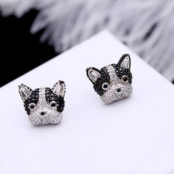 French Bulldog Cubic Zircon Stud Earrings