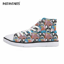 Colorful French Bulldog Dog Pattern Chuck Taylor Style Shoes