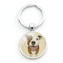 Pit Bull Cartoon Painting Keychain