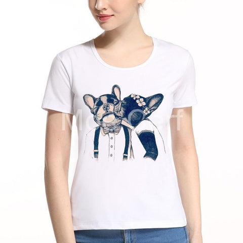 Cute French Bulldog Kissing Couple Women's T-Shirt