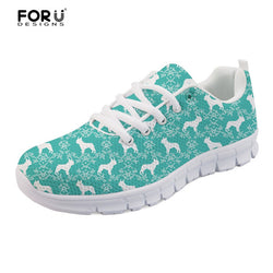 French Bulldog Silhouette Pattern Teal Women's Shoes