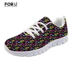 Colorful Bulldog Pattern Design Black Women's Shoes