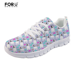 White Black French Bulldog Pattern Purple Women's Shoes