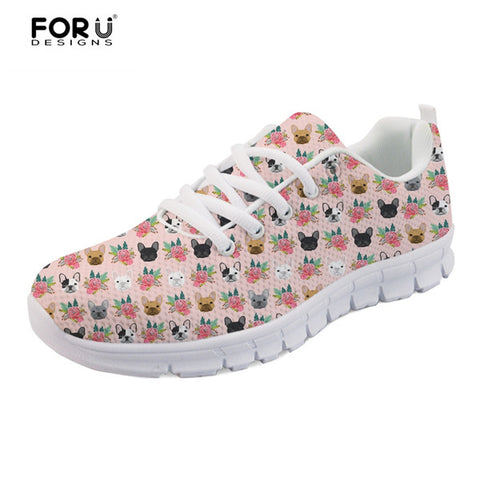 French Bulldog Head Pattern Flower Women's Shoes
