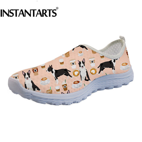 Bull Terrier Coffee Pattern Women's Air Mesh Slip On Shoes