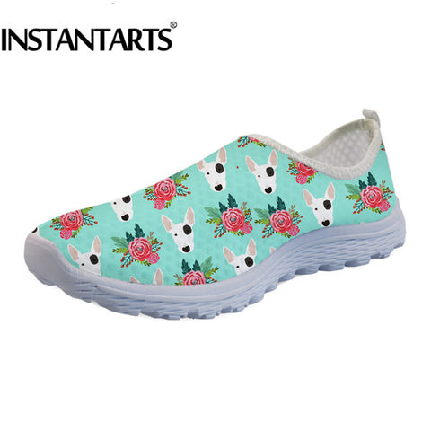 Bull Terrier Flower Pattern Teal Women's Air Mesh Slip On Shoes