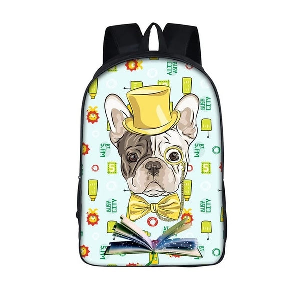 French Bulldog Yellow Hat Bowtie Backpack