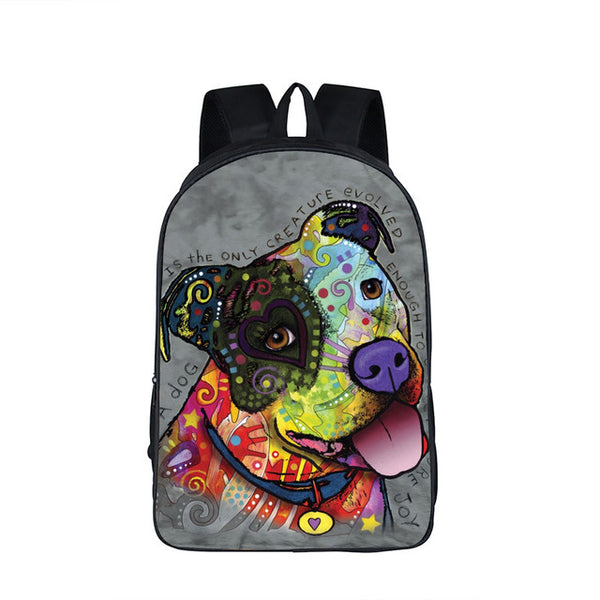Colorful Pit Bull Pattern Grey Background Backpack