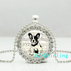 Antique Rhinestone French Bulldog Puppy Pendant Necklace