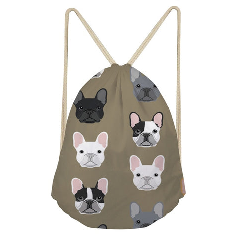 FORUDESIGNS Women Drawstring Bags French Bulldog Print Flower String Shoulder Bags Kids Casual Travel Bag Mochila Dual Use Bolsa