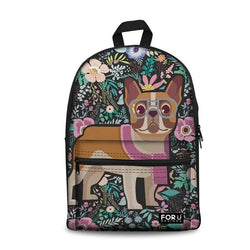 French Bulldog Square Floral Background Pattern Backpack
