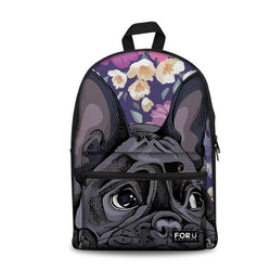 Black French Bulldog Laying Floral Background Backpack