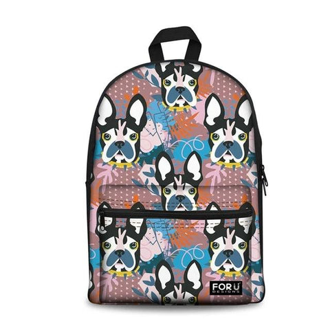 Boston Terrier Cartoon Floral Pattern Backpack