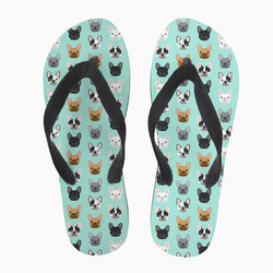 French Bulldog Head Pattern Flip Flop Slippers