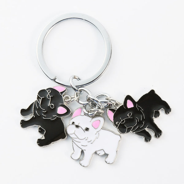 French Bulldog Pink Ear Pendant Keychain