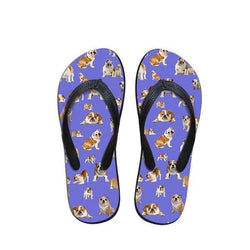 English Bulldog Sitting Laying Pattern Flip Flop Sandals