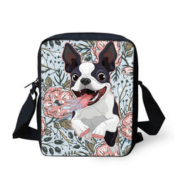 Cartoon Happy Jumping Boston Terrier Shoulder Bag