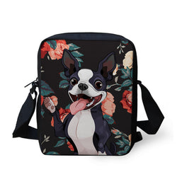 Cartoon Happy Boston Terrier Floral Background Shoulder Bag