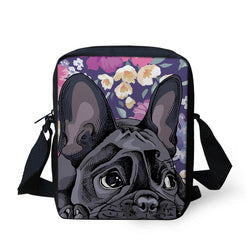 Cartoon Black French Bulldog Floral Background Shoulder Bag