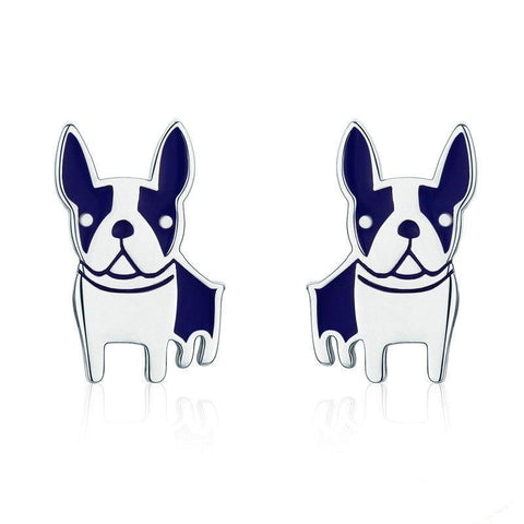 White Blue French Bulldog Pointy Ears Stud Earrings