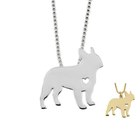 Cute Small Heart French Bulldog Shape Pendant Necklace