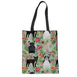 French Bulldog Flower Rose Green Tote Bag