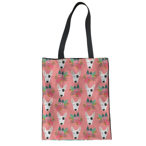 Bull Terrier Head Floral Pattern Pink Tote Bag