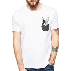 Cute Cartoon Pocket French Bulldog Front Men's T-Shirt