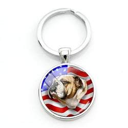 USA English Bulldog Round Keychain