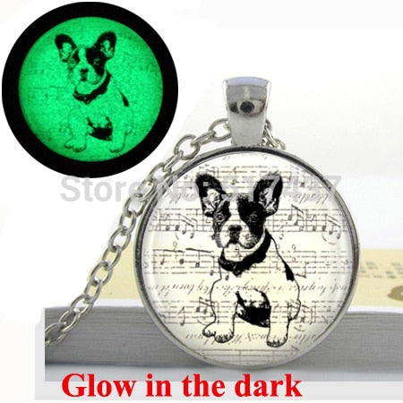 Glow In the Dark French Bulldog Puppy Music Pendant Necklace