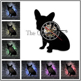 Sitting French Bulldog Silhouette Vinyl Record Wall Clock
