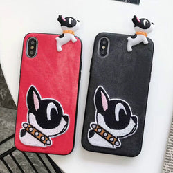 Cartoon Embroidery French Bulldog Phone For iPhone