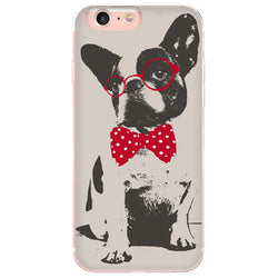 Black White French Bulldog Red Bow Tie Glasses Phone Case for iPhone