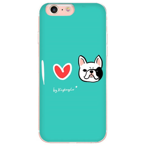 I Love French Bulldog Teal Background Phone Case for iPhone