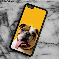English Bulldog Long Tongue Out Yellow Background Phone Case for iPhone, Galaxy