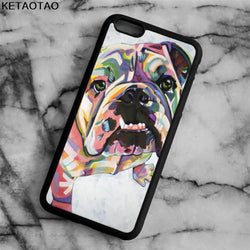 English Bulldog Multicolor Faded Pattern Phone Case for iPhone, Galaxy