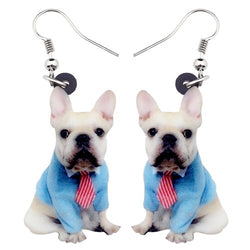 French Bulldog Shirt & Tie Hanging Earrings